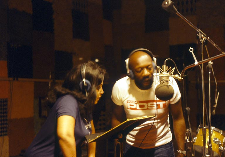 Linda in the Studio with Issac Hayes recording her number 1 hit - Shoot Your Best - 1980