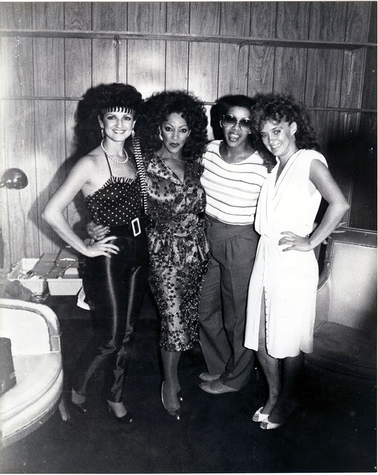 Pamela Stanley, Linda, Debbie Jacobs and Cynthia Manley in the dressing room of the Copa in Ft Lauderdale - 1982