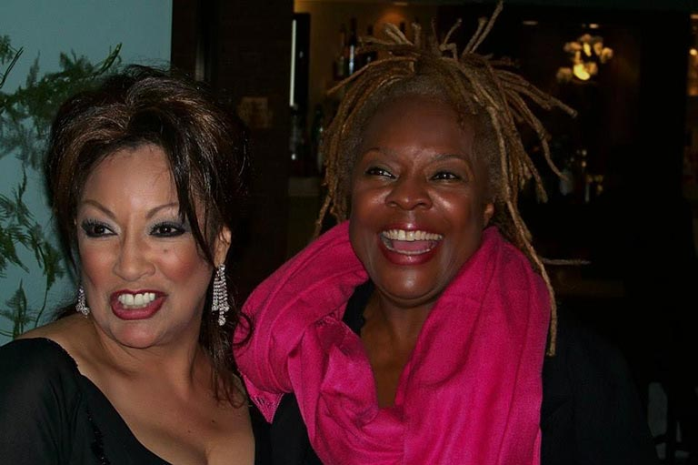 Linda and Thelma Houston after performance at the RRAZZ ROOM in San Francisco